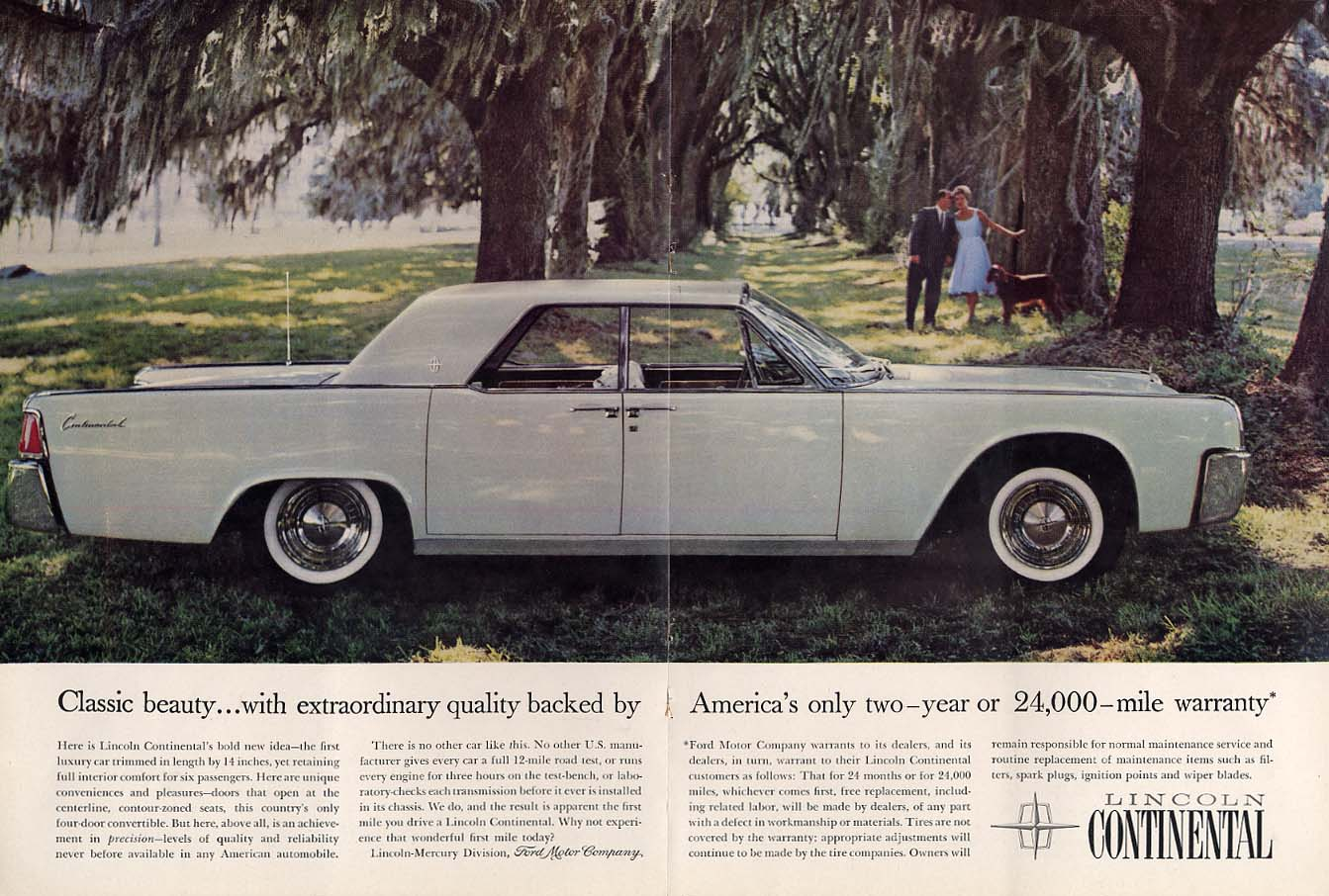 Classic beauty backed by the only 2-year 24000-mile warranty - Lincoln ad 1961 N