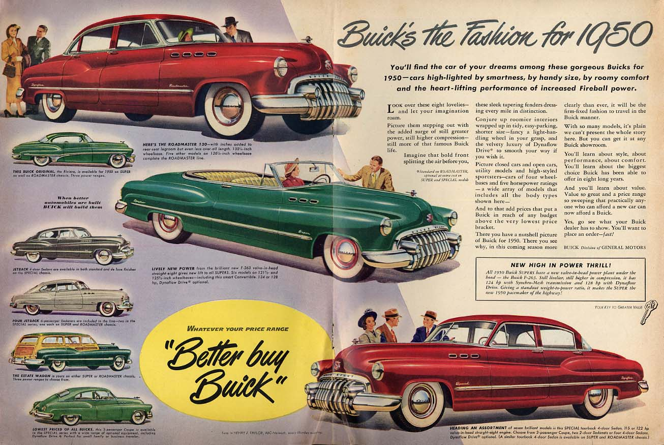 Buick's the fashion for 1950 ad convertible estate wagon coupe sedan NW