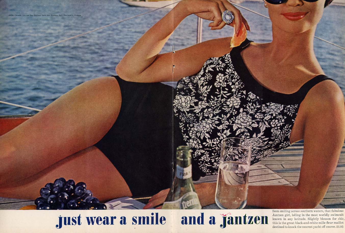 Just wear a smile and a Jantzen mille fleur maillot swimsuit ad 1962 NY