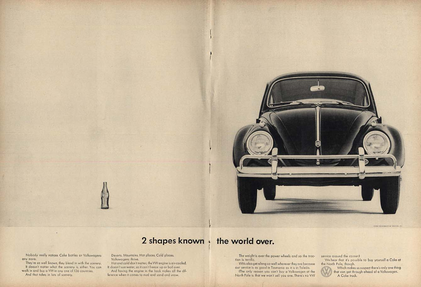 Two shapes known the world over: Coca-Cola bottle & Volkswagen ad 1962 NY