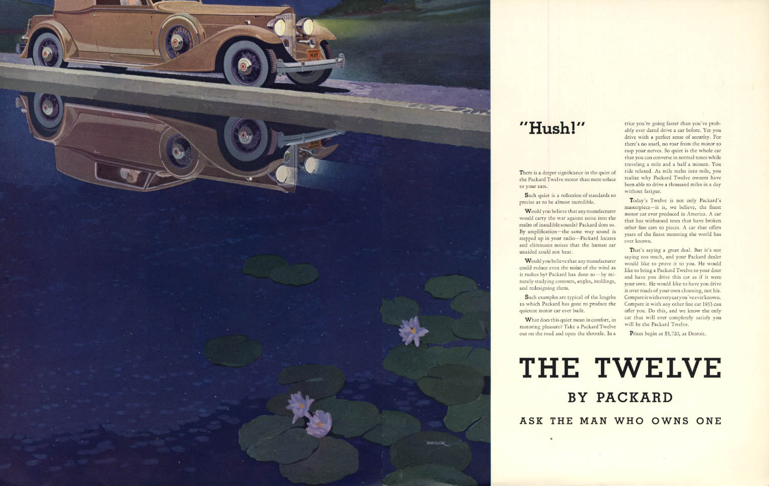 Hush! The Packard Twelve Cabriolet Coupe ad 1933 F Peter Helck art