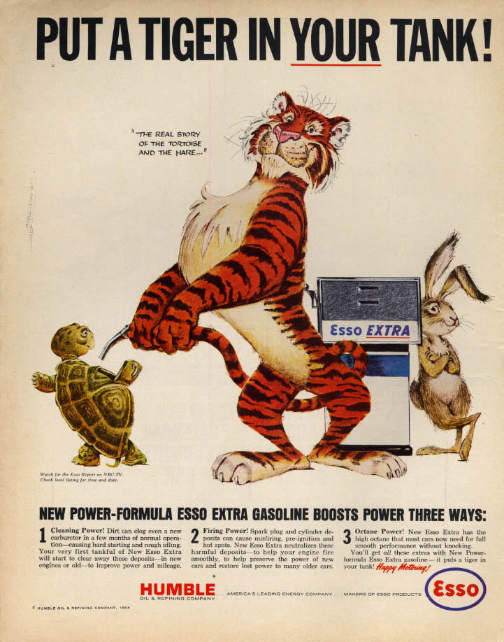 Image for Put a Tiger in YOUR Tank! Esso Extra Gasoline ad 1964 tortoise & hare LK