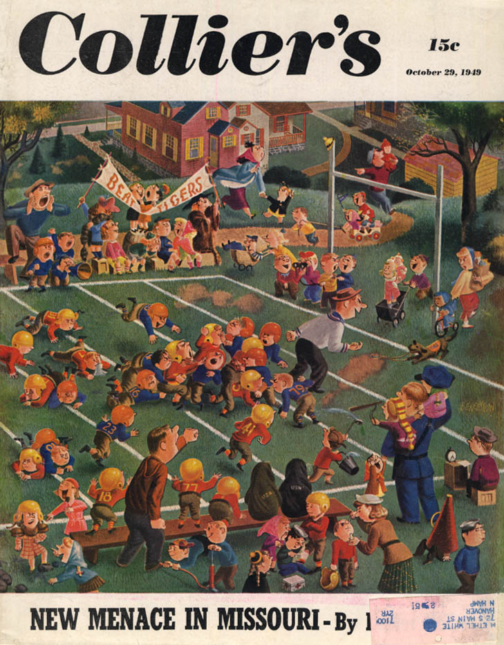 COLLIER'S COVER 10/29 1949 Kids Football Game by Berenstains