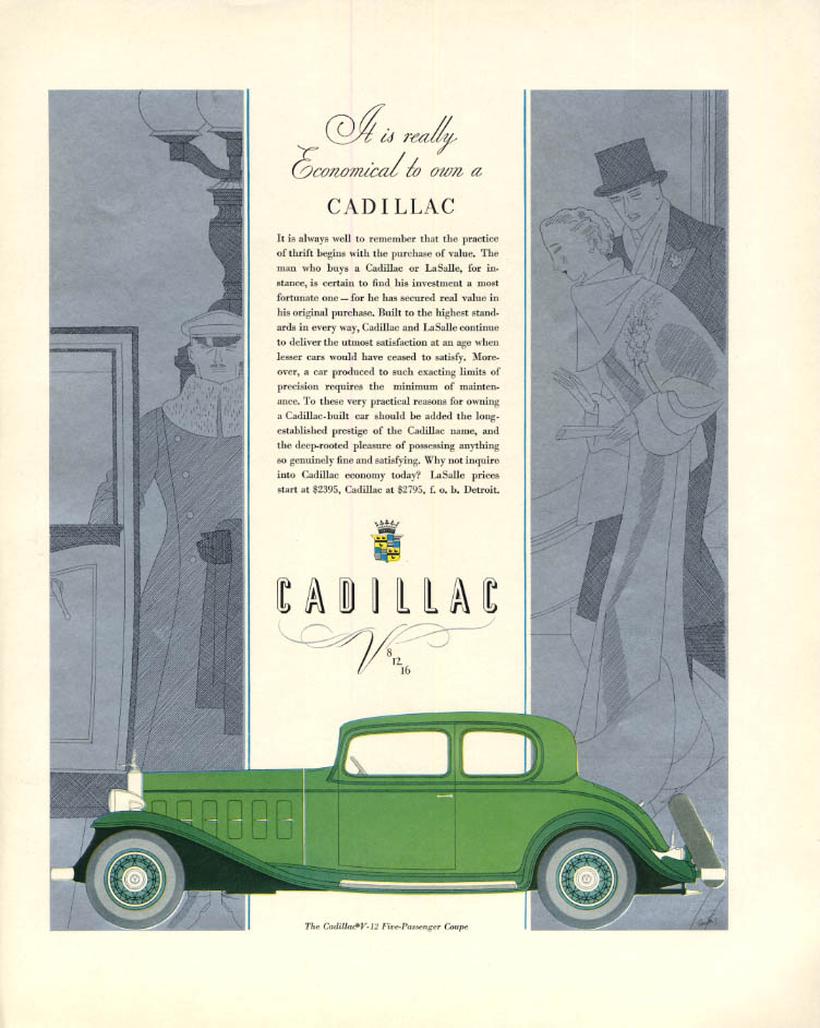 It is really economical to own a Cadillac V-12 5-Passenger Coupe ad 1932 F