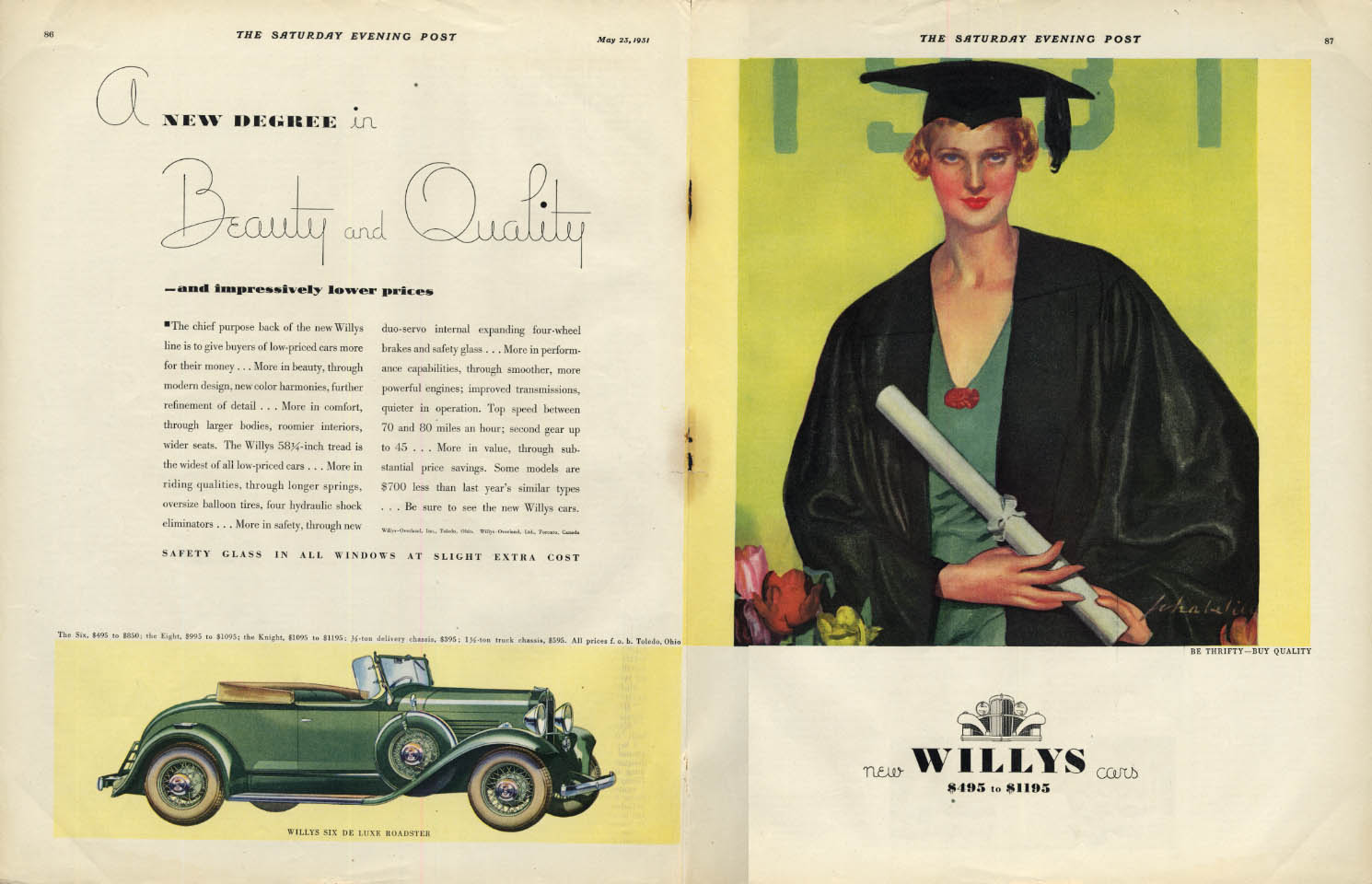 Image for A new degree in Beauty & Quality - Willys Roadster ad 1931 woman grad SEP
