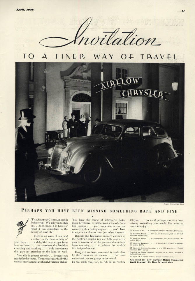 Image for Invitation to a finer way of travel Chrysler Airflow ad 1936 ESQ