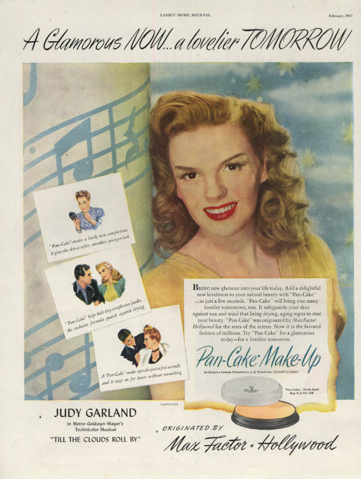 Image for Judy Garland for Max Factor Hollywood Pan-Cake Make-Up ad 1947 LHJ