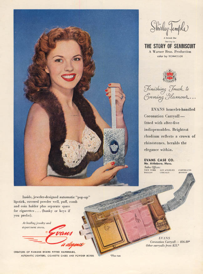 Image for Shirley Temple for Evans Coronation Cosmetics Carryall ad 1949 HBZ