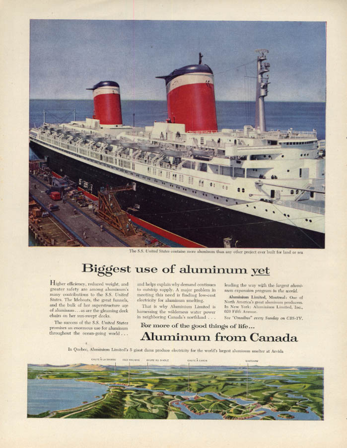 Image for Biggest use of Aluminum from Canada yet S S United States ad 1956 F