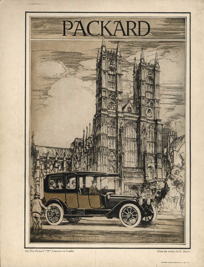 The New Packard 38 Limoisine in London ad 1914 etching by E Horter