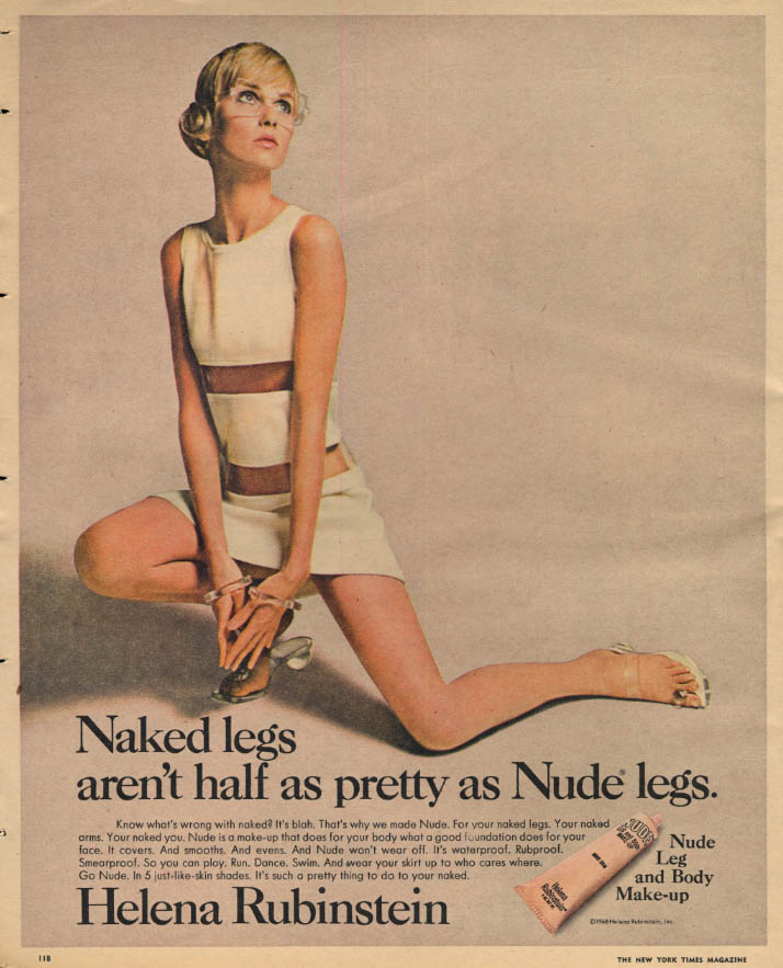 Image for Naked legs aren't half as pretty as Helena Rubinstein Nude Legs Makeup ad 1967 Y
