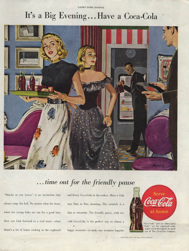 Image for It's a Big evening - Have a Coca-Cola ad 1946 dinner party LHJ