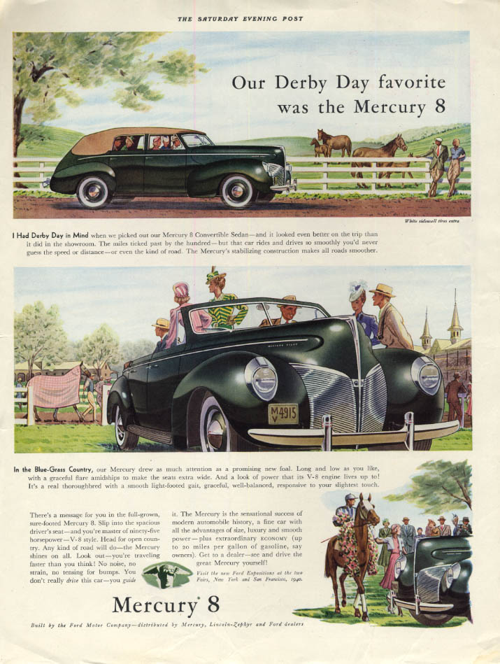 Image for Our Derby Day favorite was the Mercury 8 Convertible Sedan ad 1940 SEP