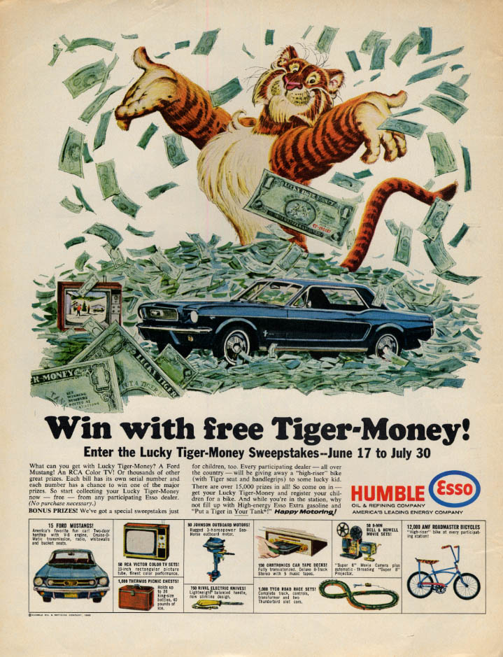 Humble Esso Win with Tiger-in-Your-Tank-Money Mustang Contest ad 1966 L