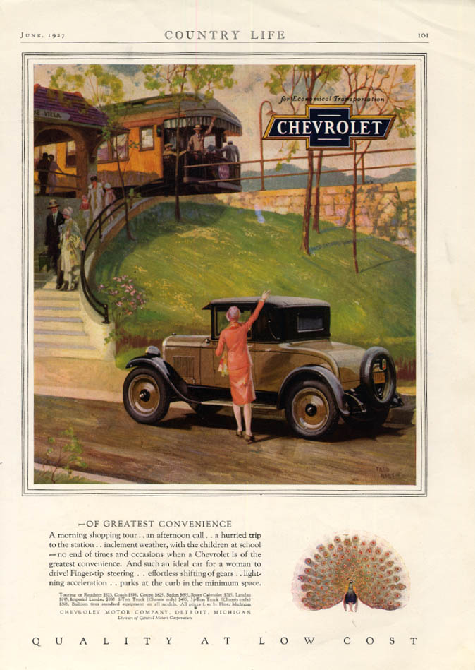 Image for Of Greatest Convenience - Chevrolet Cabiolet Coupe at train station ad 1927 CL
