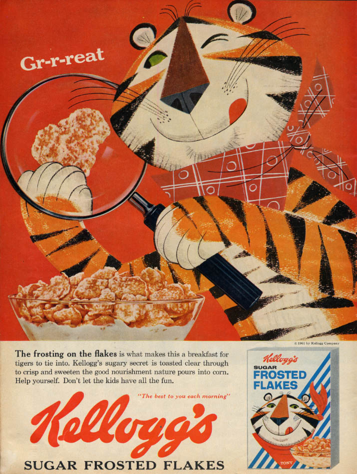 Image for The frosting on the flakes Tony the Tiger Kellogg's Sugar Frosted Flakes ad 1961