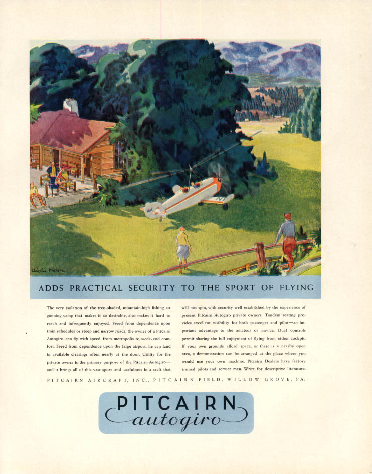 Image for Adds practical security to the sport of flying Pitcairn Autogiro ad 1932 F