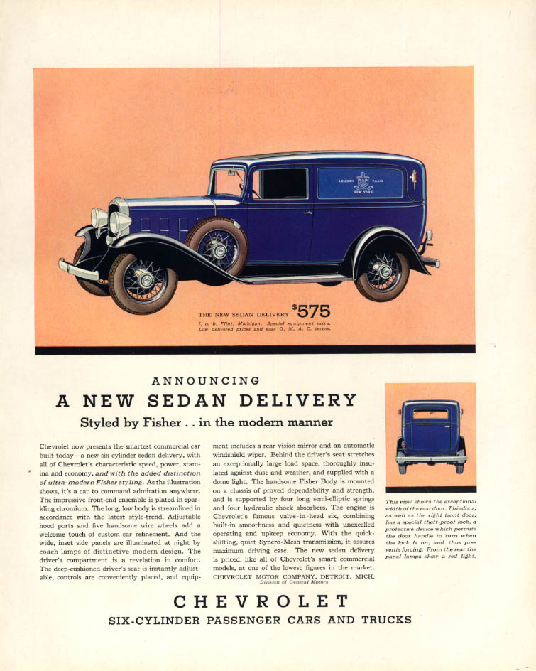 Announcing a new Chevrolet Sedan Delivery truck ad 1932 F