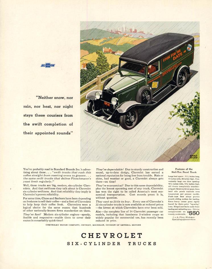 Image for Fleischmann's Yeast Chevrolet Half-Ton Panel Truck ad 1932 F