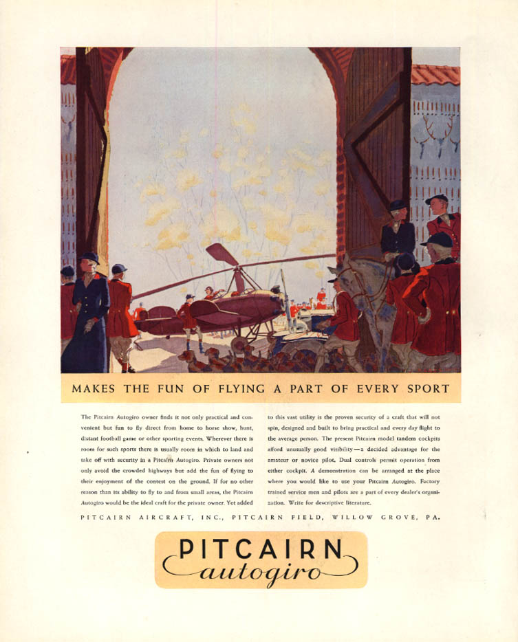 Image for Makes the fun of flying a part of every sport Pitcairn Autogiro ad 1932 F