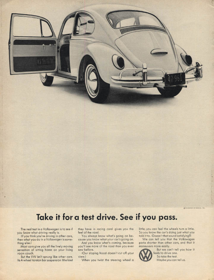 Image for Take it for a test drive. See if you pass. Volkswagen ad 1965 L