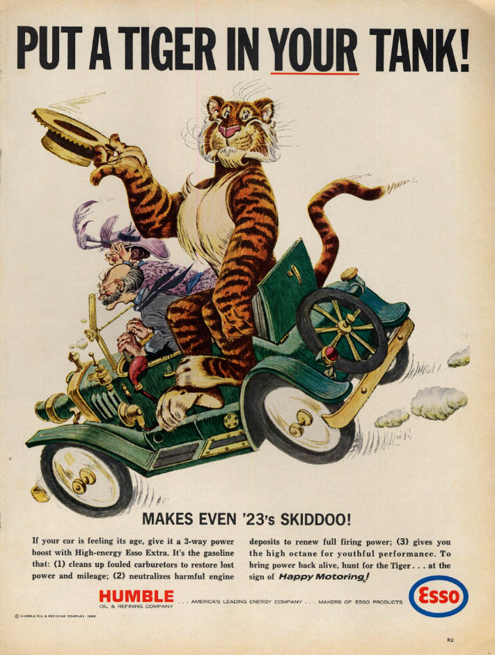 Image for Put a Tiger in Your Tank! Esso Gasoline makes even 23's skiddoo! Ad 1965 L