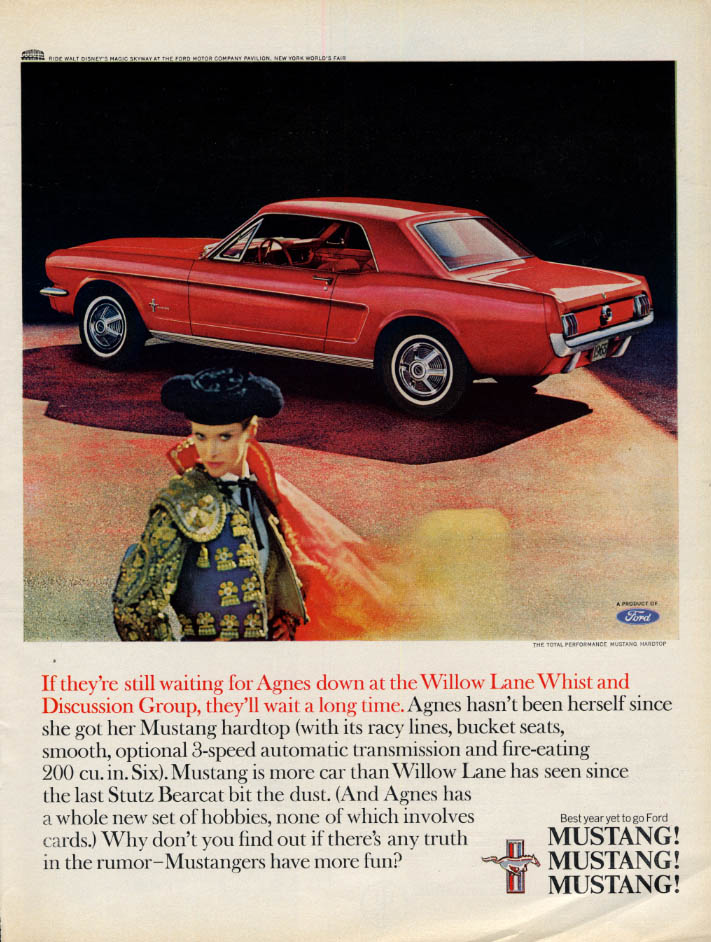 Image for If they're waiting for Agnes, they'll wait a long time Mustang ad 1965 L