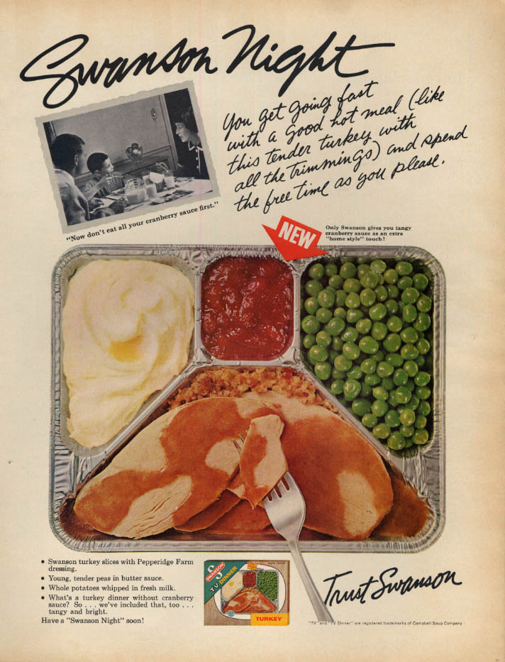 Image for Swanson Night: turkey potato & peas Swanson TV Dinner ad 1965 L