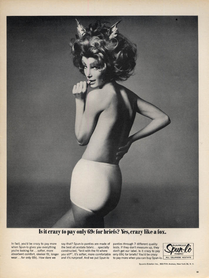 Image for Is it crazy to pay only 69c for panties? Crazy like a fox Spun-Lo ad 1965 L
