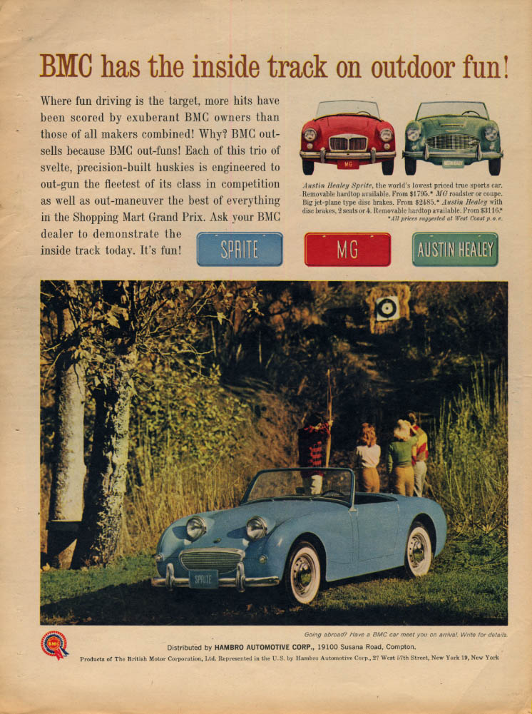 Image for Inside track on outdoor fun! Austin-Healey Sprite ad 1961 LAT