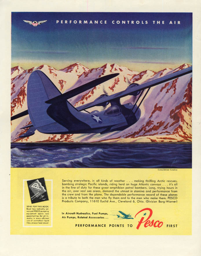 Image for Consolidated PBY Catalina on Arctic rescue Pesco ad 1944 F
