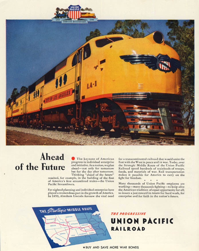 Image for Ahead of the Future - Union Pacific Railroad City of Los Angeles ad 1944 F