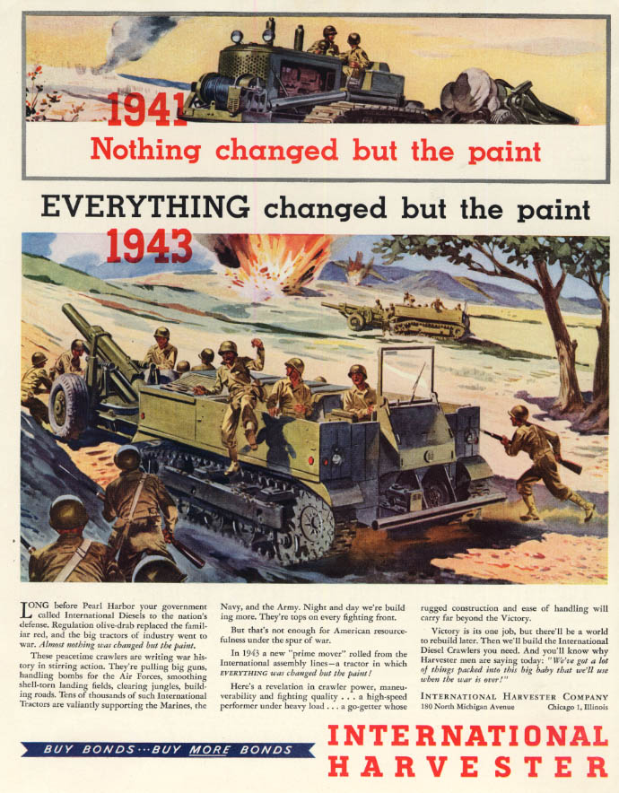 Changed paint! International Harvester Tractor & WW2 Prime Mover ad 1944 F