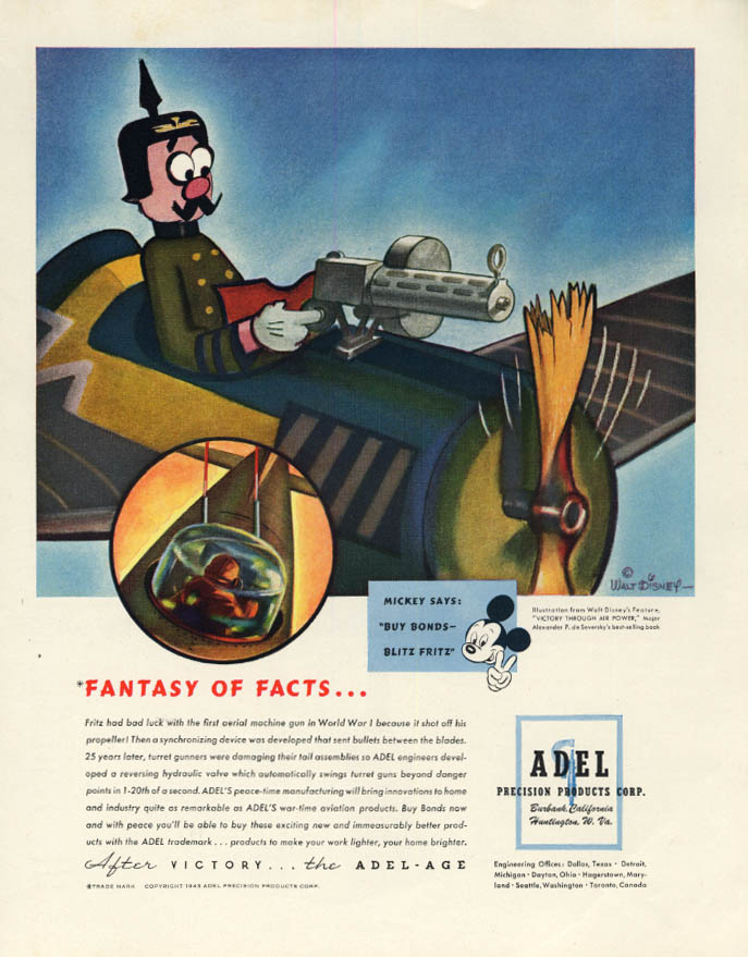 Image for Fantasy of Facts Disney Victory Through Air Power & Mickey Mouse Adel ad 1944 F