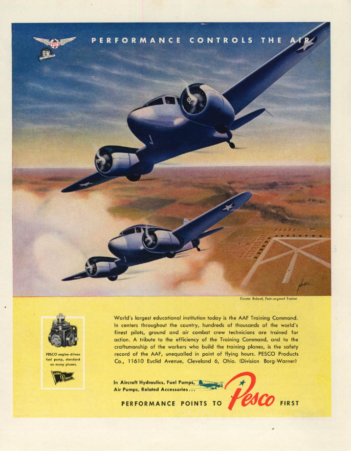 Image for USAAF Cessna Bobcat Twin-engined Trainer Pesca ad 1944 F