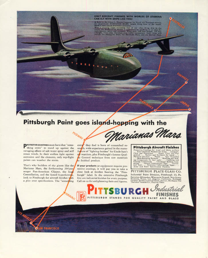 Image for Martin Marianas Mars Pan American Clipper Pittsburgh Paints ad 1946 F