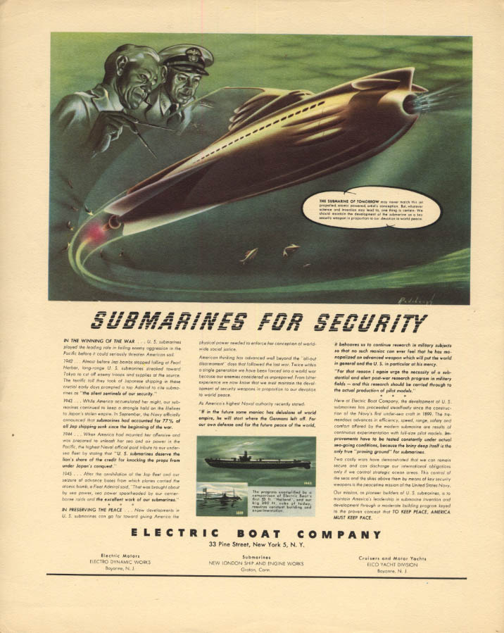 Image for Future Atomic Submarines for Security: Electric Boat ad 1945 F