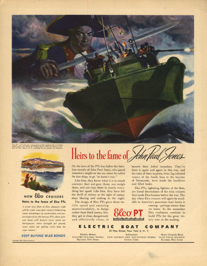 Image for Heir to the fame of John Paul Jones electric Boat PT Boat ad 1945 F