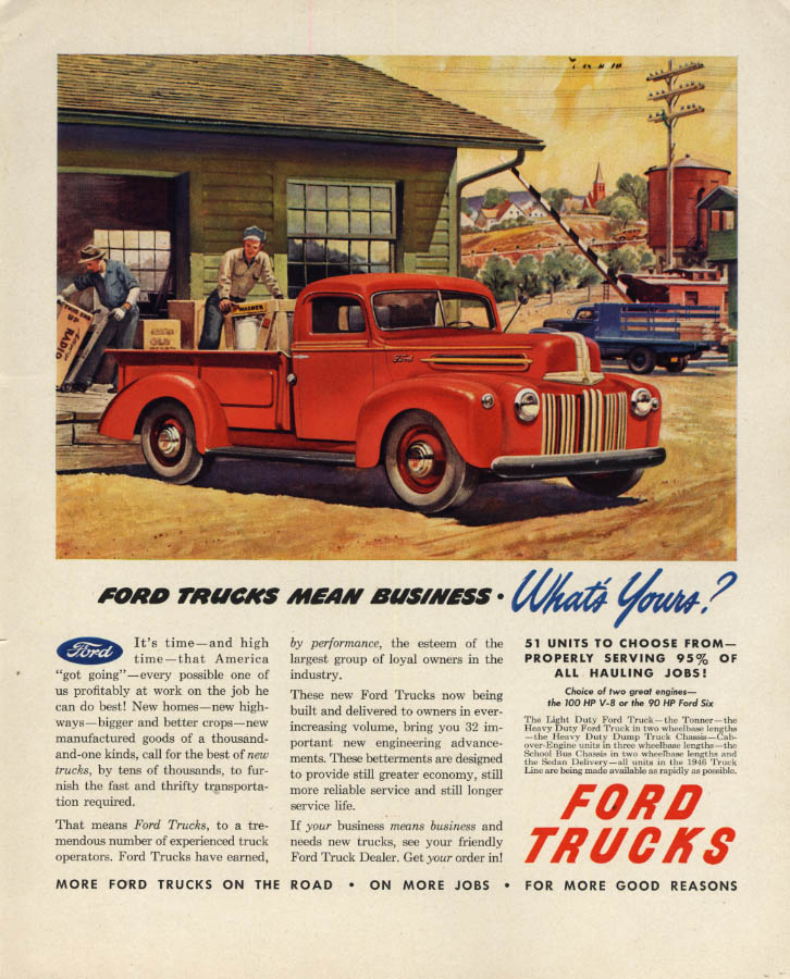 Image for Ford Trucks mean business What's Your! Ford Pickup ad 1946 F