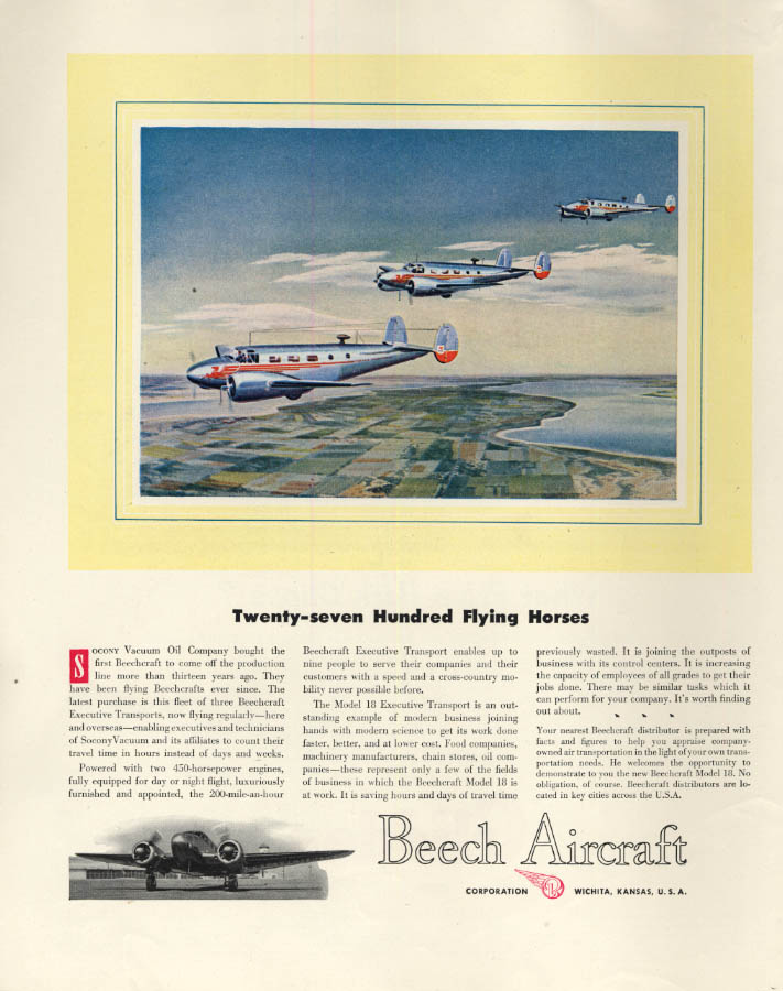 Image for Twenty-seven Hundred Flying Horses Beechcraft Model 18 Beech ad 1947 F