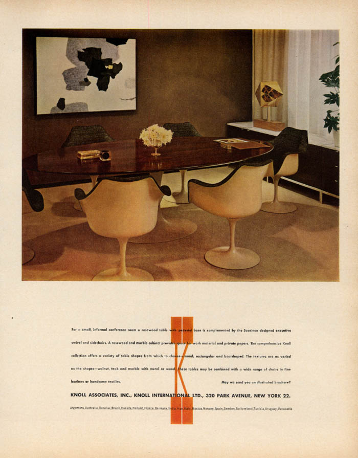 Saarinen Executive Swivel & Side Chairs: Knoll Associates ad 1963 F