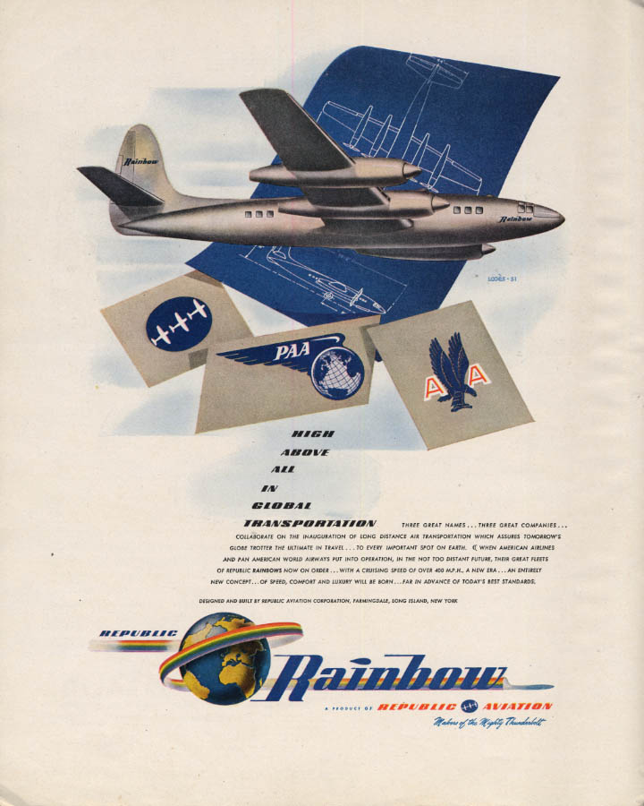 Image for Republic Rainbow Airliner for Pan Am & American Airlines ad 1946 F