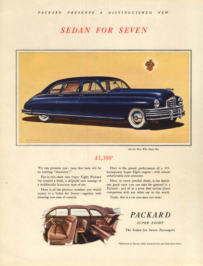 Introducing the Packard Sedan for Seven $3300 ad 1948 F