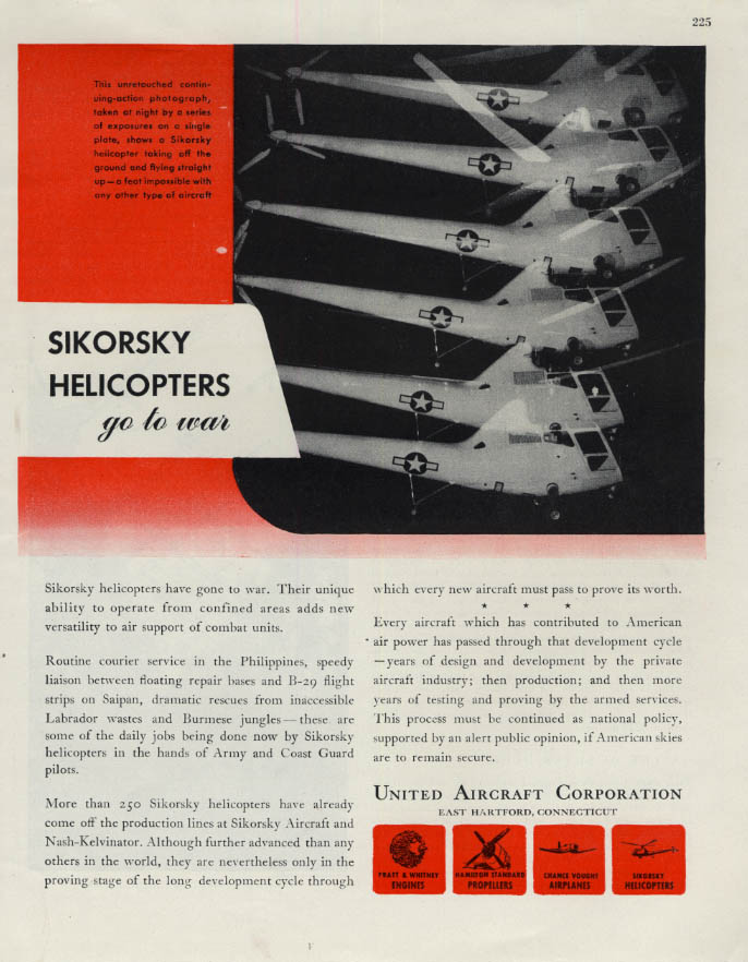 Image for Sikorsky Helicopters go to war United Aircraft ad 1945 F