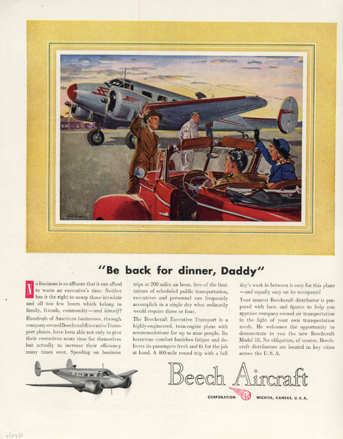 Image for Be back for dinner Daddy Beechcraft Executive Transport Beech Aircraft ad 1947 F