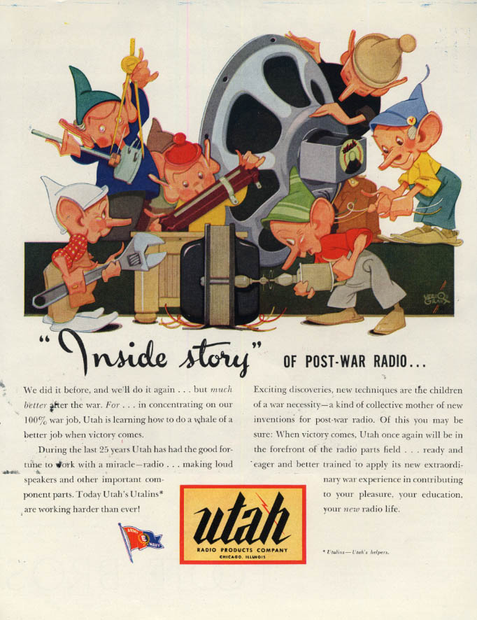 Image for Inside story of Post-war Radio 0 Utah Radio ad 1944 Vernon Grant elves F
