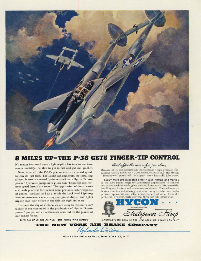 Image for 8 Miles Up the Lockheed P-38 Lightning Gets Finger-Tip Control Hycon ad 1944 F