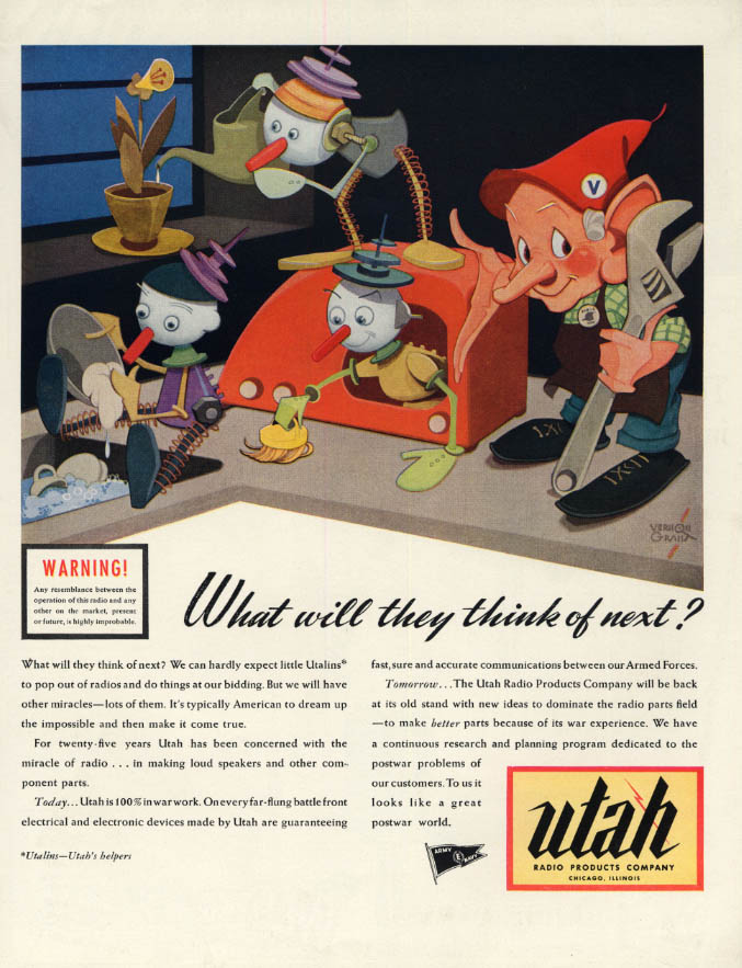 Image for What will they think of next? Utah Radio Products ad 1944 Vernon Grant elves F