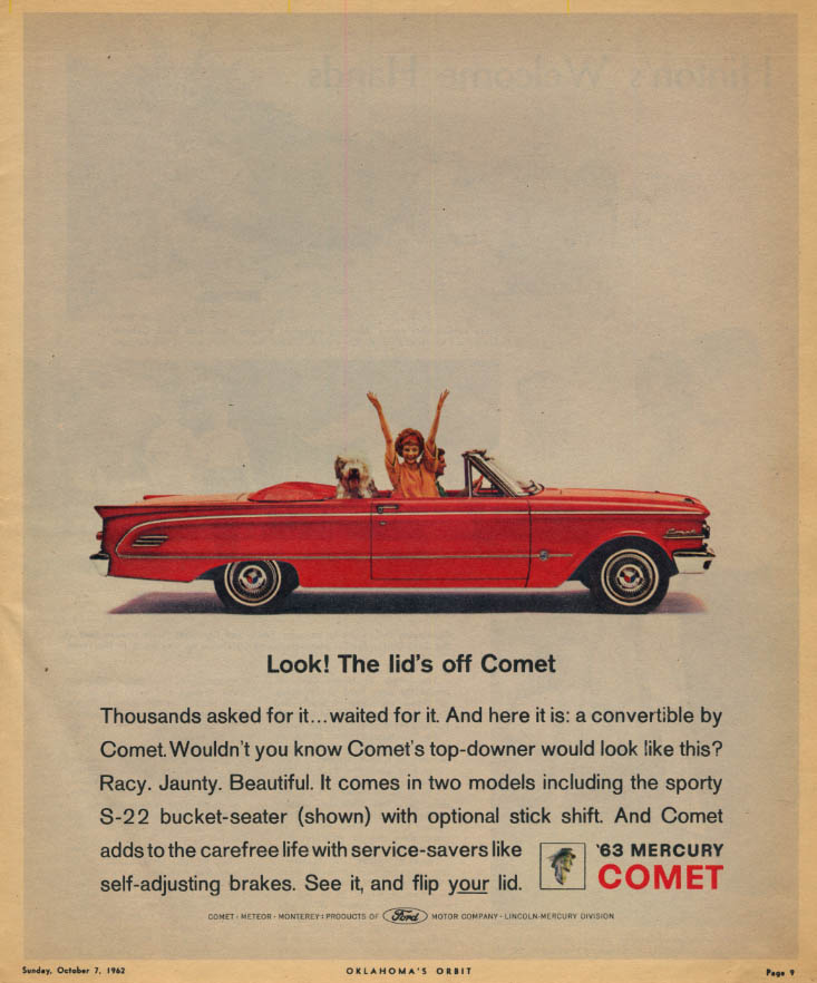 Image for Look! The lid's off Mercury Comet Convertible ad 1963 OKO