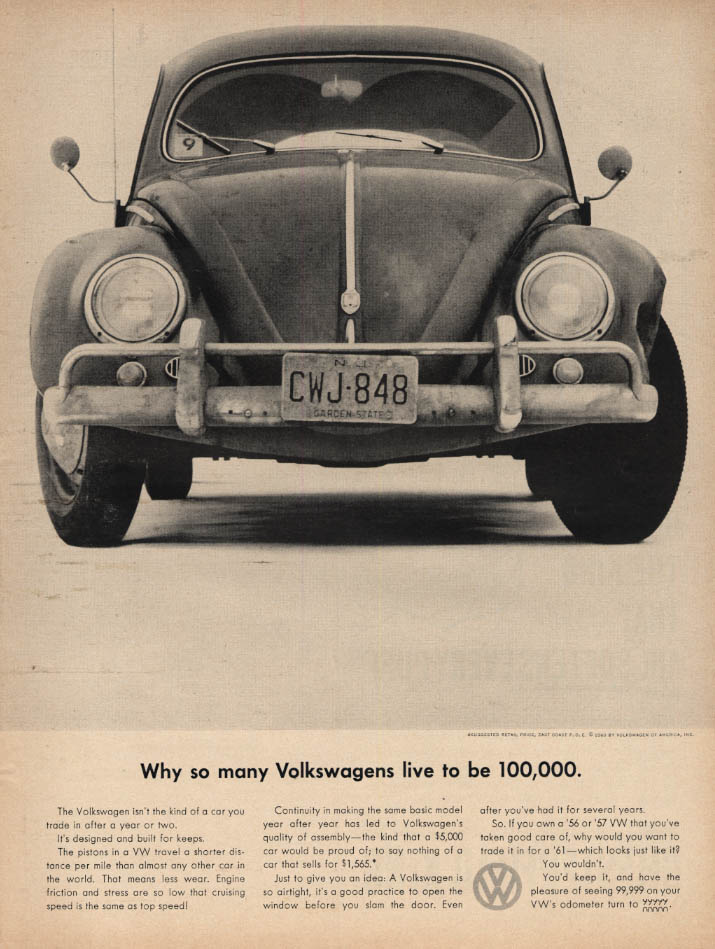 Image for Why so many Volkswagens live to be 100,000 Volkswagen ad 1960 L